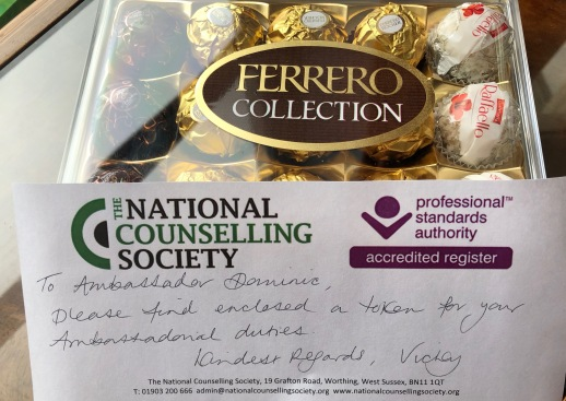 Box of Ferrero Rocher with a note from the CEO of National Counselling Society